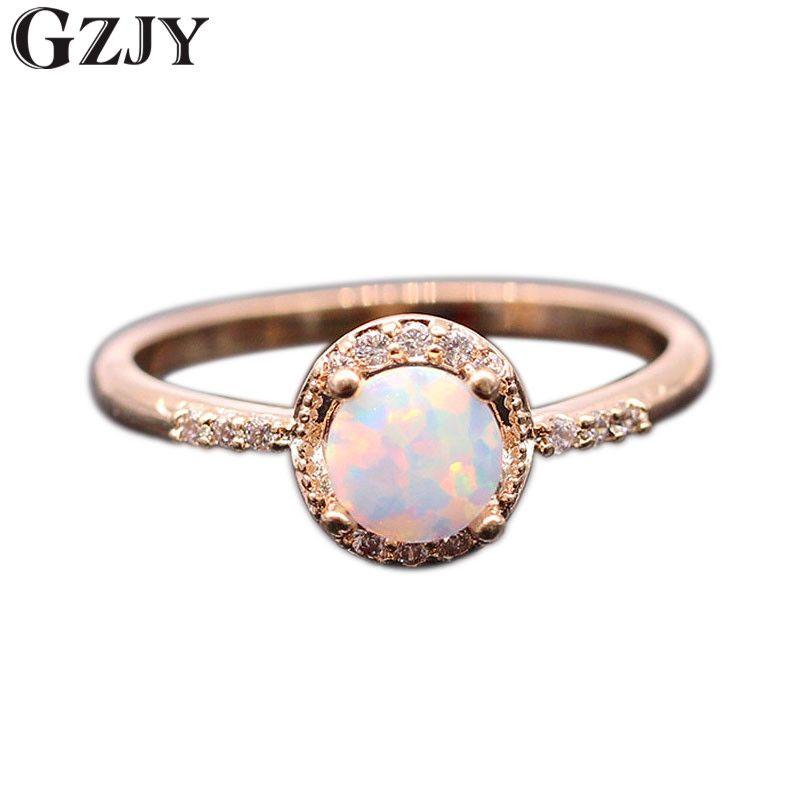 GZJY Belle Mignon Simple Ronde Bijoux Blanc Opale de Feu Zircon Champagne Or Couleur Anneau Pour Les Femmes En Gros