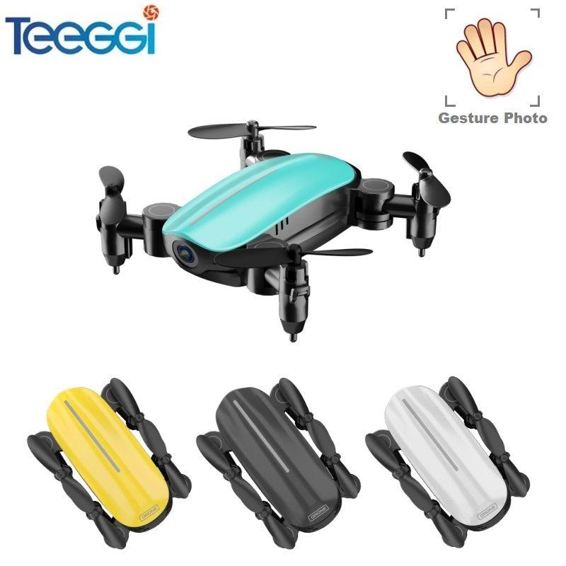 Teeggi T10 Mini Drone avec Caméra HD Pliable WiFi FPV RC Quadcopter Sans Tête Mode Maintien D'altitude VS S9 Micro Poche selfie Dron