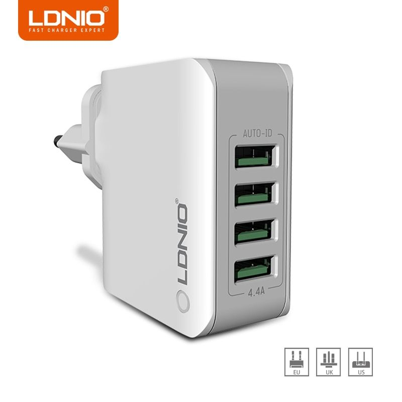 LDNIO 5V 4.4A EU/US/UK Plug 4 USB Ports Universal Phone Charger AC Power Charger for Home Travel for iPhone