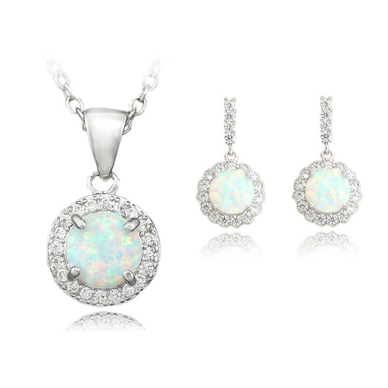 HAIMIS Pretty White Blue Pink Fire Opal Jewelry Sets Necklace Pendant Earring For Women Bridal Sets TZOE138 Free Gift Box
