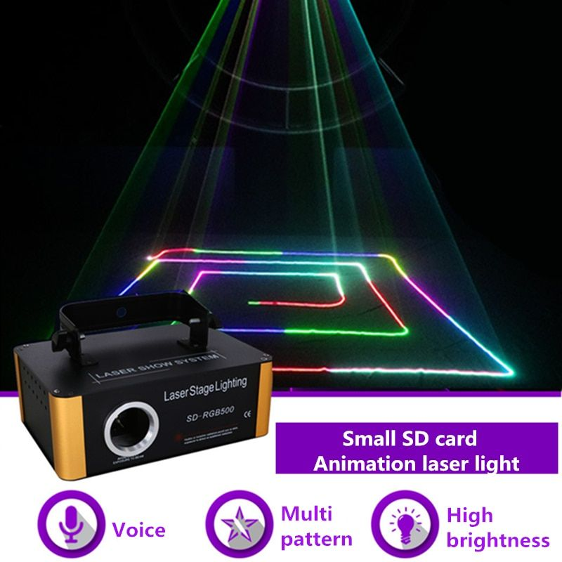 AUCD 500mW RGB Laser Small SD Card Program DMX Animation Projector Stage Lighting PRO DJ Show Scanner Light SD-RGB500
