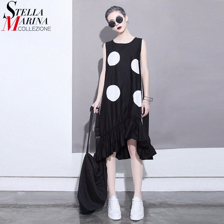 2018 Korean Style Summer Women Black Sun Dress Large Dots Print Sleeveless Ruffles Hem Straight Girls Cute Midi Tank Dress 1193