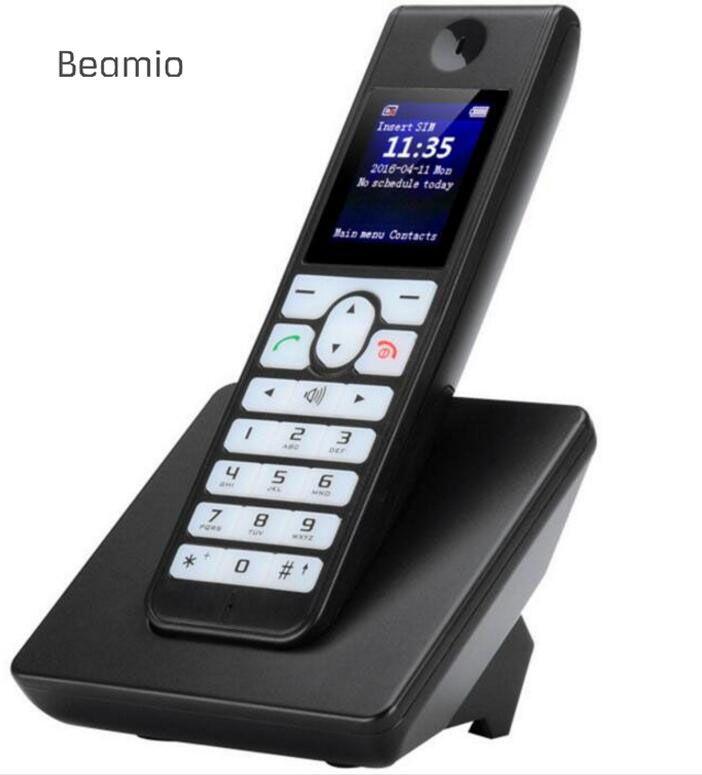 Russe Anglais GSM Sans Fil Soutien SIM Carte Sans Fil Téléphone Avec SMS Rétro-Éclairage LCD Écran Fixe Téléphone Pour La Maison Noir