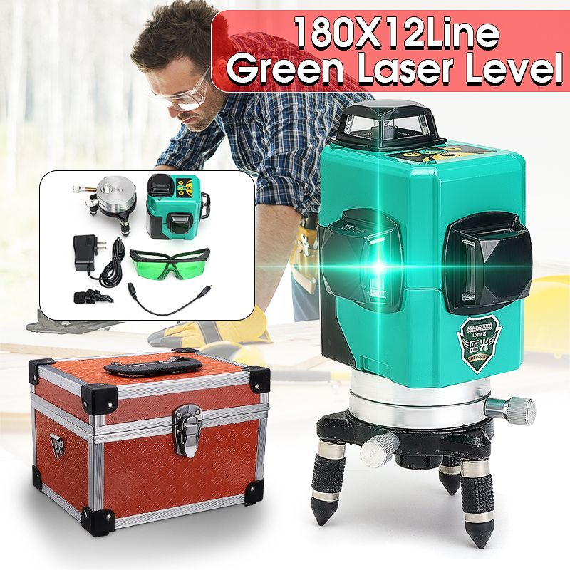 12 Line 360 Auto Self Leveling GREEN Laser 30m 3D Vertical Horizontal Level Cross Shockproof Shatter-proof Vertical Horizontal