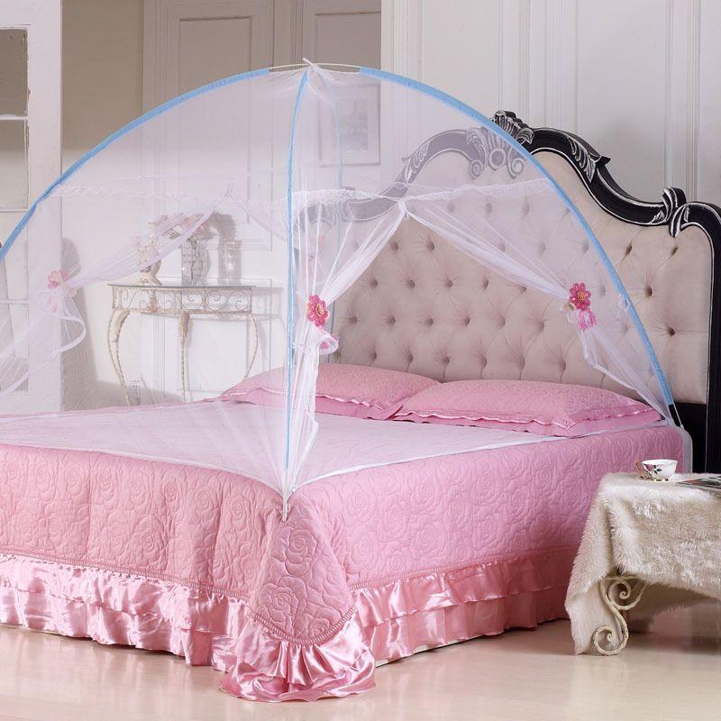 2016 nouveau été bi-parting pliant maille insecte lit mongol yourte moustiquaire roi/reine taille literie auvent rideau dôme tente