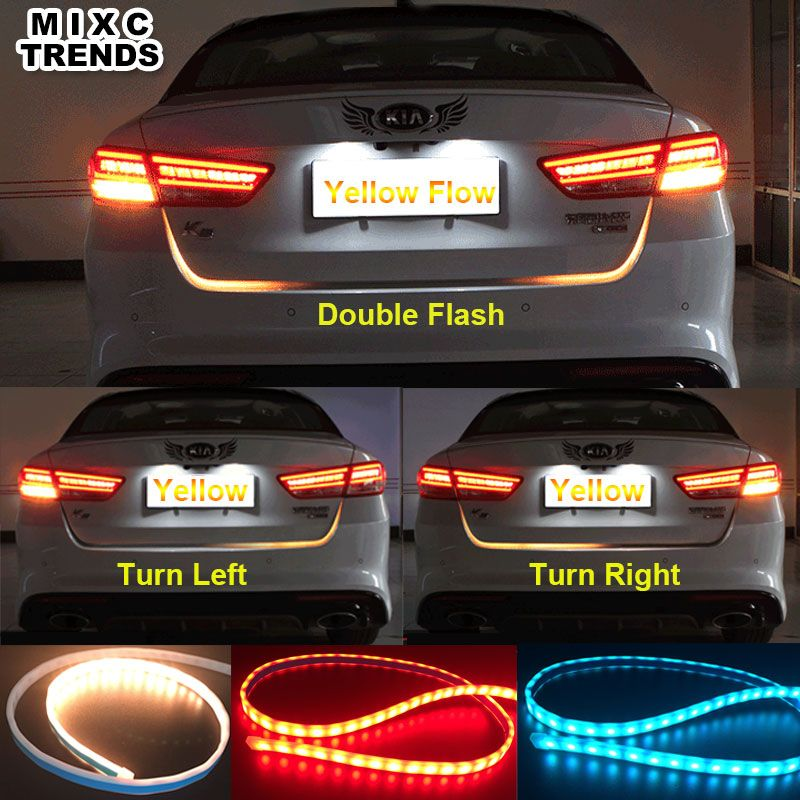Car Styling Turn Signal Amber Flow Led <font><b>strip</b></font> trunk Tail Light Ice Blue LED DRL daytime running light RED Brake Light for BMW