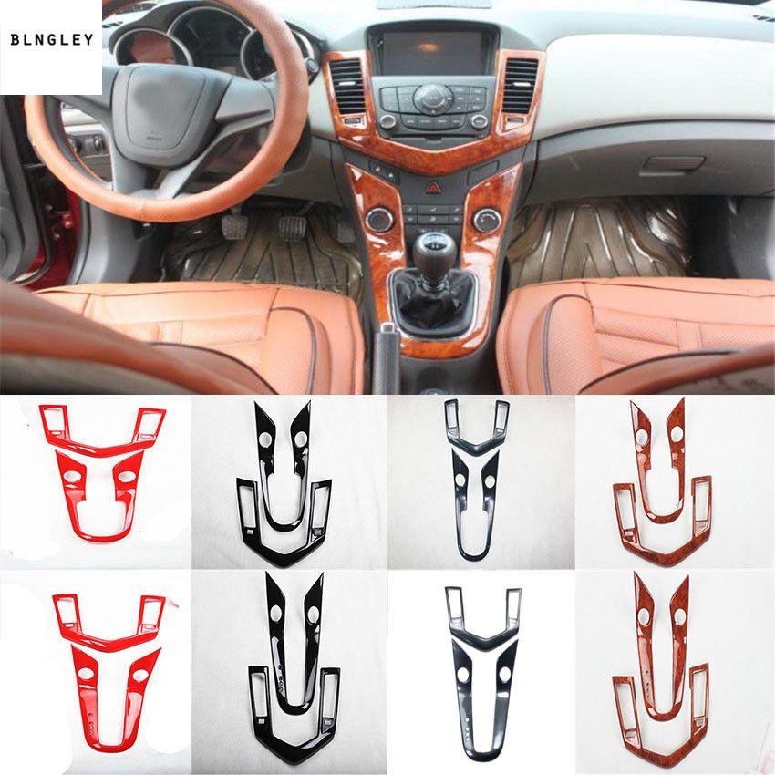 2 teile/los ABS carbon faser korn oder holzmaserung Zentrale steuerung getriebe panel dekoration abdeckung für 2009-2013 Chevrolet chevy Cruze