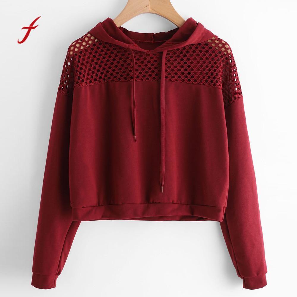 Feitong Для женщин свитер с капюшоном джемпер укороченный Топ с длинным рукавом спортивный костюм пуловер модная открытая осень-зима футболка ...