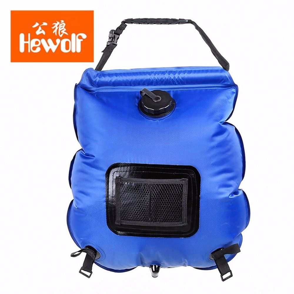 Hewolf 20L Summer Outdoor Folding Solar Heating Water Bag With Thermometer Camping Hiking Travel Portable PVC Shower Bag