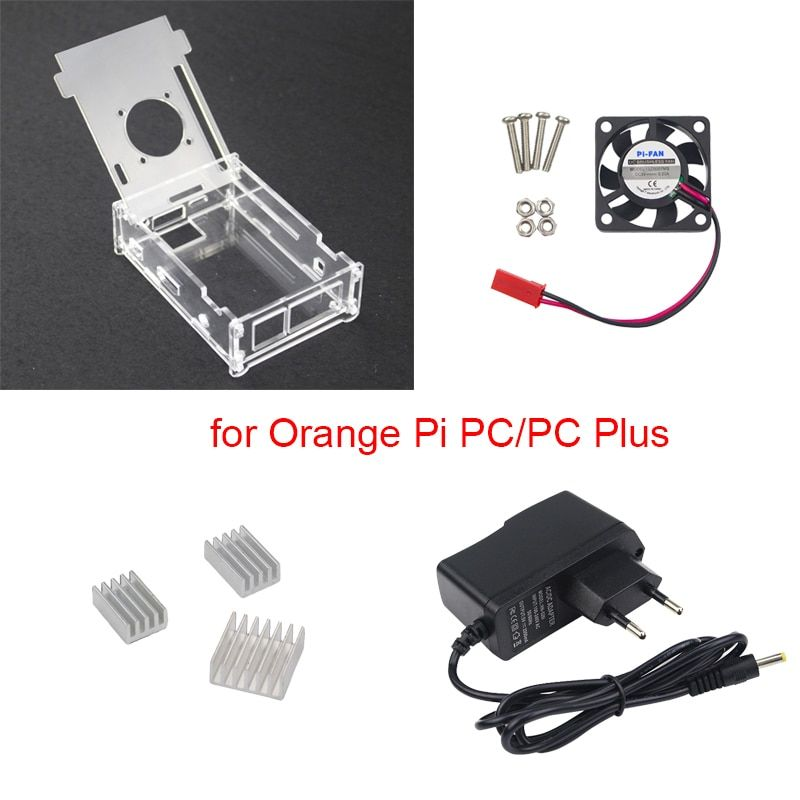 Pour PC Orange Pi boîtier acrylique Transparent + chargeur d'alimentation 5 V 2A + ventilateur de refroidissement + Support dissipateur de chaleur pour PC Orange Pi Plus