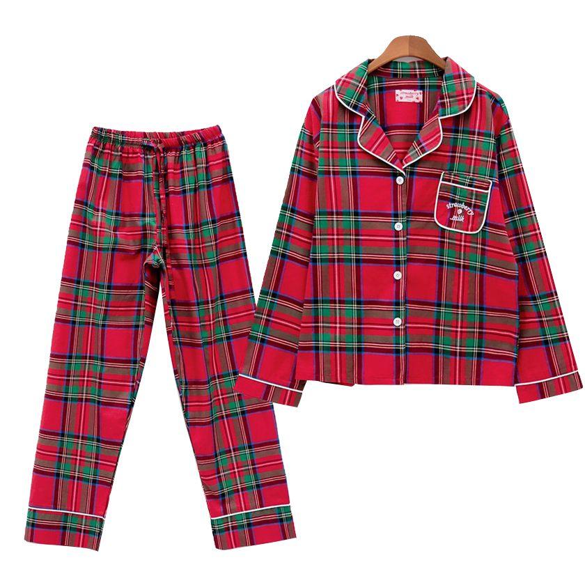 Christmas Red Plaid Pajamas Girls Preppy Style Women 2 Pieces Set Long Sleeve Top + Pants Elastic Waist Home Wear pyjamas S7N802