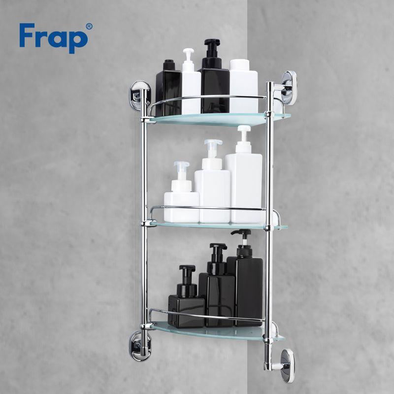 Frap étagère de salle de bain 3 couches en verre toilettes multi-usages étagères mural bain shampooing panier salle de bains accessoires F1907-3