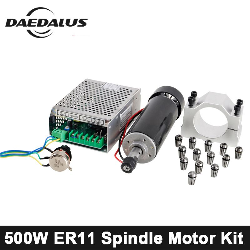 500W CNC Spindle Motor ER11 Air Cooled Spindle + Adjustable Power Supply + 52MM Clamps + ER11 Collet Chuck For Engraving Machine