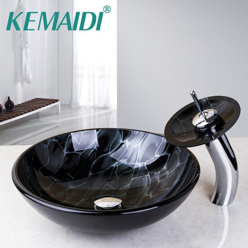 KEMAIDI Bathroom Round Basin Faucets Clear Glass Vessel Sink Basin with Match Waterfall Faucet &Pop-Up Drain Included