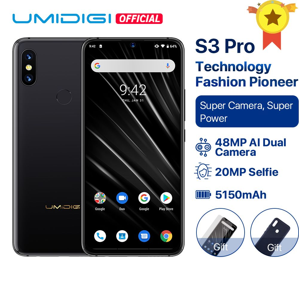 UMIDIGI S3 PRO Android 9.0 48MP+12MP+20MP Super Camera 5150mAh Big Power 128GB 6GB 6.3