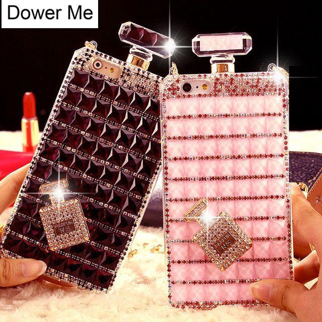 Dower Me Bling Perfume Bottle Diamond Chain Handbag Case For Iphone X 8 7 6S Plus 5 5C 4 Samsung S8/7/6 Edge S5/4 Note 8 5 4 3 2