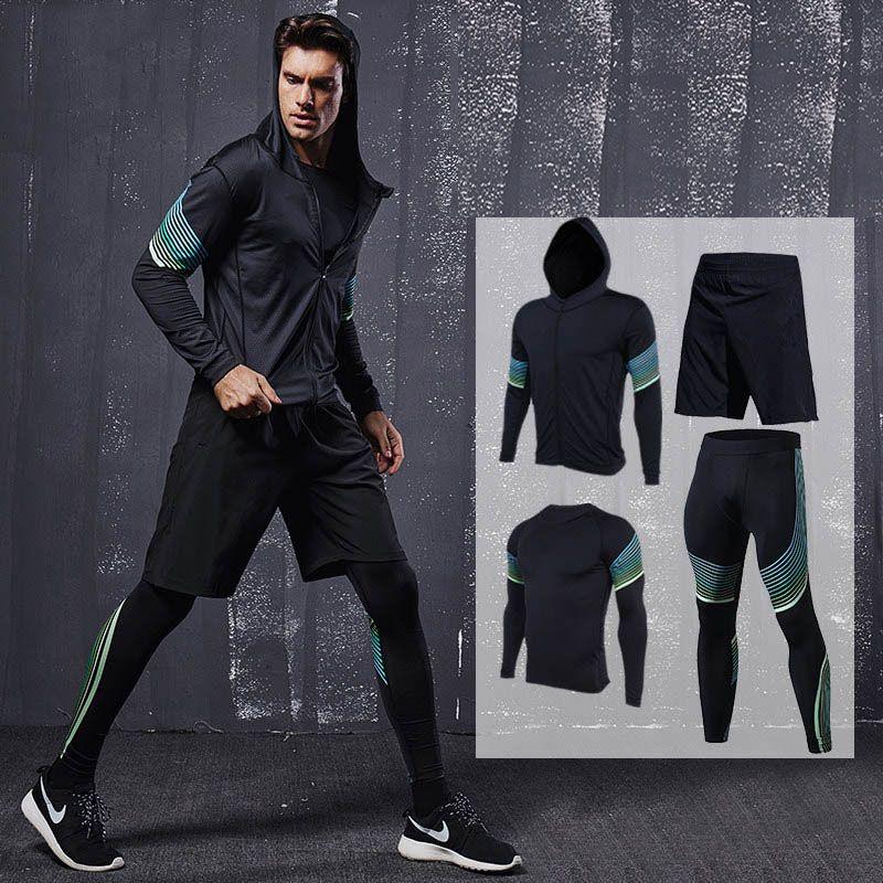 EU Men Workout Suits Quick Dry Men Sport Suit Men Backetball Soccer Training Suits Mens Breathable Running Sets Men Gym Clothing