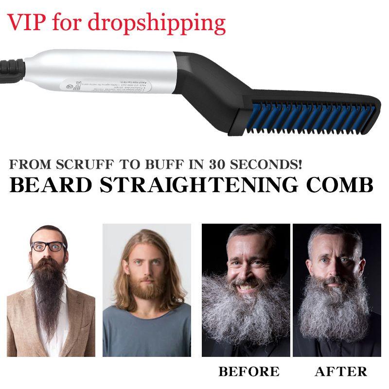 Beard Straightener Hair Straighten Straightening Comb Multifunctional Hair Comb Brush Hair Curler Quick Hair Styler For Men 345