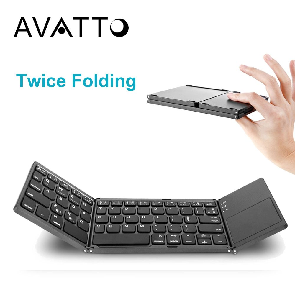 [AVATTO] A18 Portable Twice Folding Bluetooth Keyboard BT Wireless Foldable Touchpad Keypad for IOS/Android/Windows <font><b>ipad</b></font> Tablet