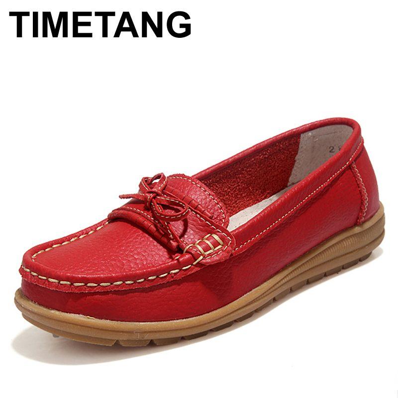 TIMETANG Schuhe Frau 2017 Echtem Leder Frauen Schuhe Wohnungen 4 Farben Loafers Beleg Auf frauen Flache Schuhe Mokassins # WD2856