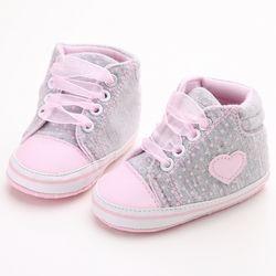 Pink Polka Dot algodón único bebé suave zapatos Lace-up Primavera/otoño primeros caminante recién nacido Niño cuna zapatos de la muchacha al por mayor