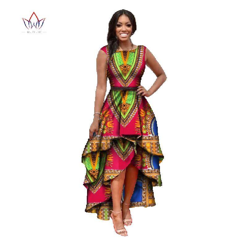 Africain vêtements pour femmes o-cou africaine dashiki robes coton robe sans manches imprimé africain robe grande taille naturel 4xl WY447
