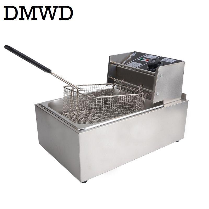 DMWD Elektrische Friteuse Multifunktions Kommerziellen edelstahl Grill Ofen Huhn Französisch Frites Öl Braten Maschine Heißer Topf 6L