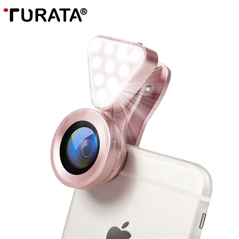 TURATA De Luxe LED Selfie Flash Lumière Beauté Téléphone Lentille Remplir Lumière 0.4-0.6X Grand Angle + 10X Macro Lentille pour Smartphone