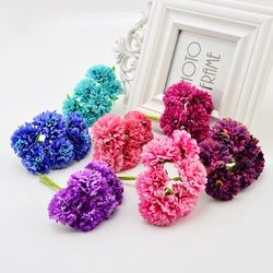 6 unids flores artificiales novia ramo para la decoración de la boda DIY wreath Gift Box artesanía falso seda claveles handmake estambre