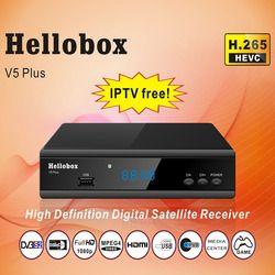 Hellobox V5 Plus Penerima Satelit 3 Bulan Gratis IPTV Powrvu Iks Biss Sepenuhnya Autoroll DVBS2 Penipuan + 2 Tahun TV kotak