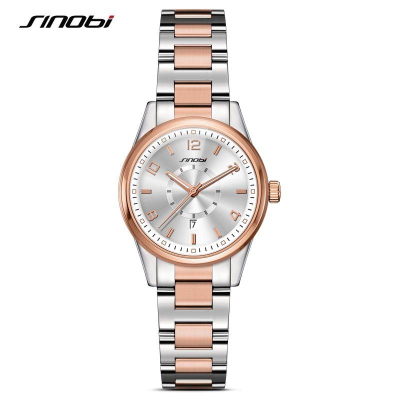 SINOBI Fashion Women Watches 2018 Gold Watchband Top Brand Luxury Ladies Quartz Clock Female Bracelet Watch <font><b>Montres</b></font> Femmes