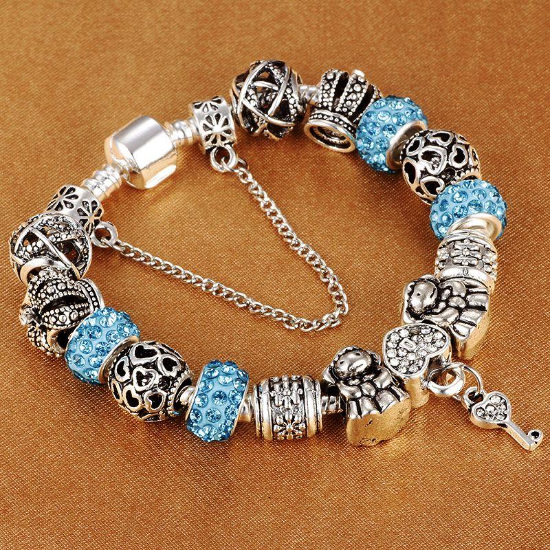 HOMOD Authentic Silver Plated 925 Crown Beads Key Crystal Heart Charm Bracelet Fits Pandora Bracelet For Women DIY Jewelry