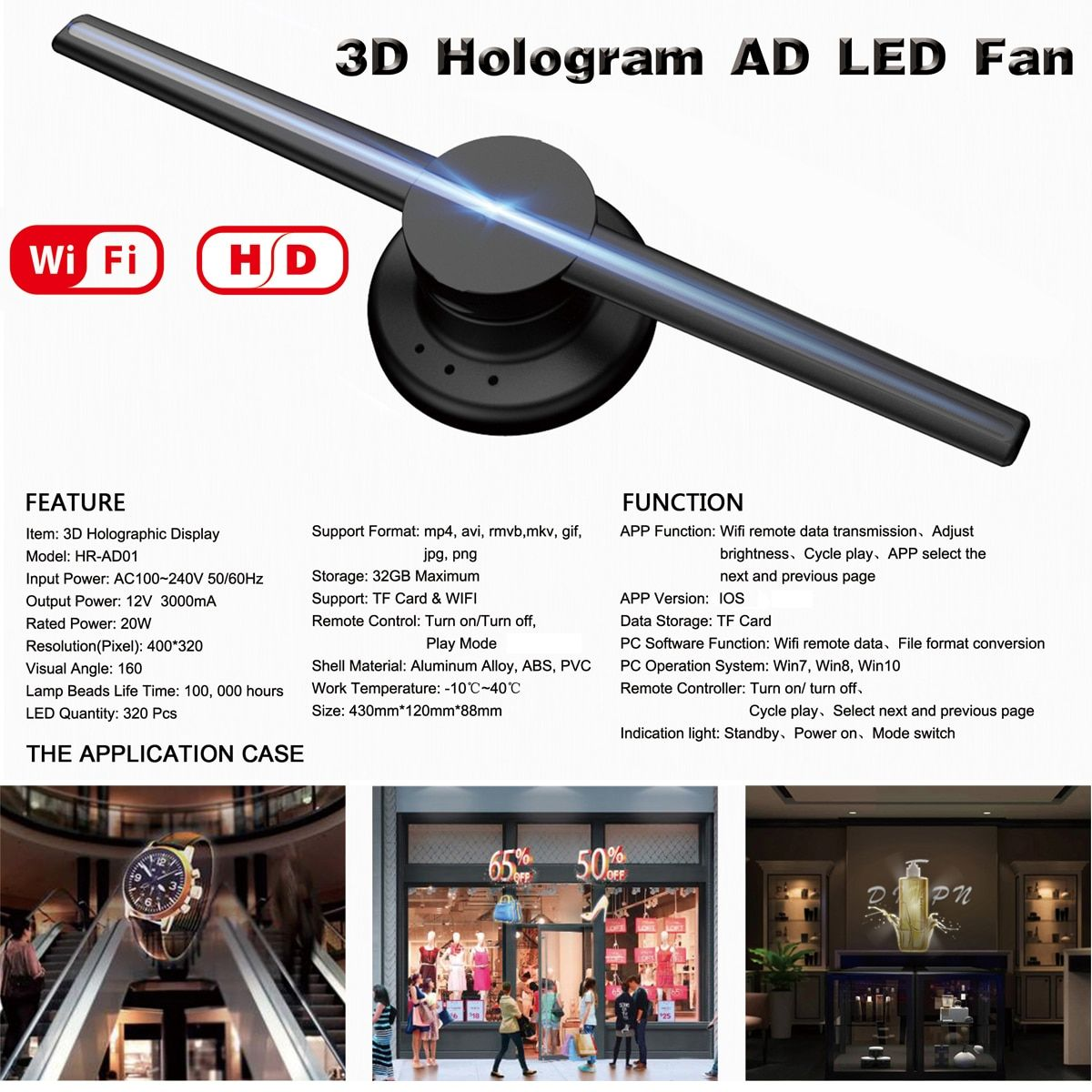 NEW Upgraded Wifi 3D Holographic Projector Hologram Player LED Display Fan Advertising Light APP Control 42cm/16.54