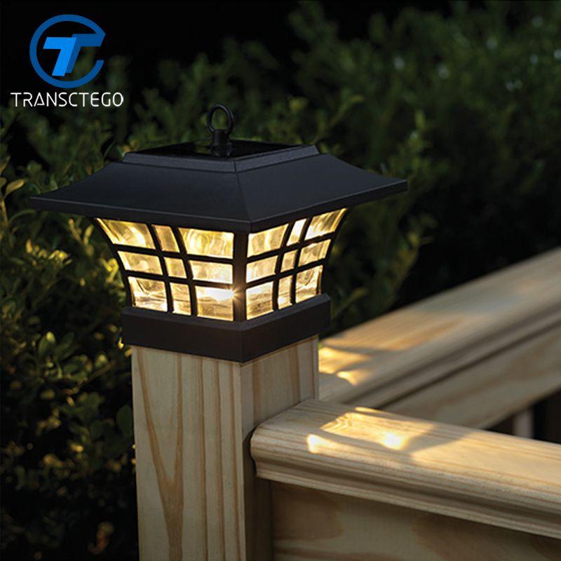 TRANSCTEGO Solar Light For Garden Waterproof LED Solar Lamp Outdoor Landscape Courtyard Lights Household Fence Post Pillar Lamps