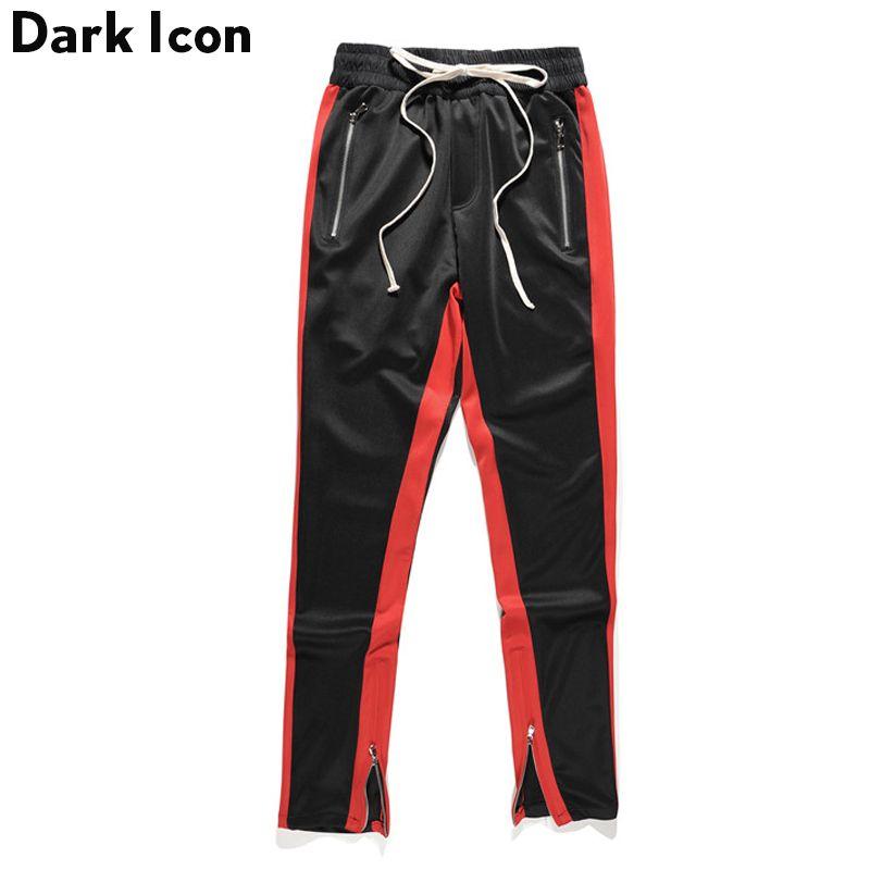 Side Patchwork Side Zipper on Leg Opening Jersey Material Men's Pants 2017 Autumn Kanye West Pants Men Pencil Pants Black Green