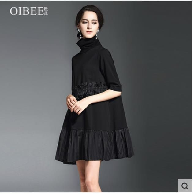 Spring 2018 new women's wear high collar lotus leaf edge five sleeve bottom stretch knitted dress