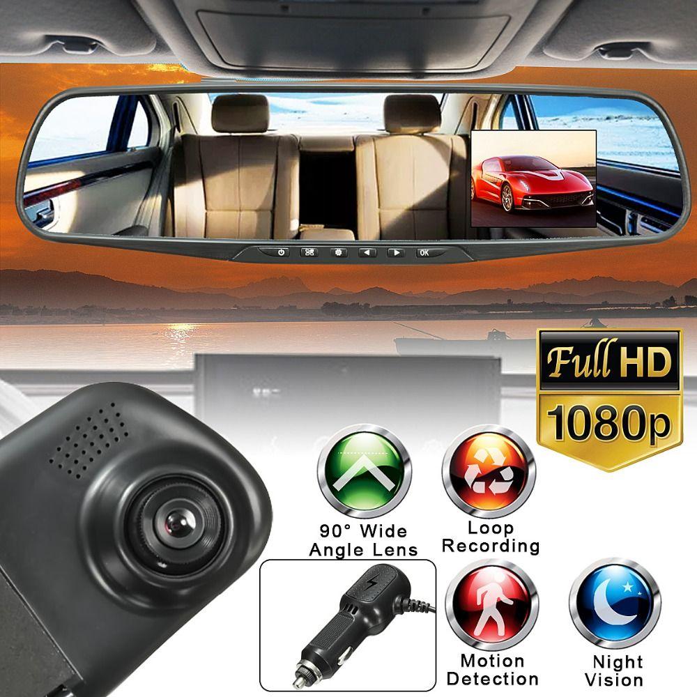 2.8 дюймов 1080 P парковка Зеркало заднего вида Мониторы Видеорегистраторы для автомобилей тире Камера видео Регистраторы Ночное видение
