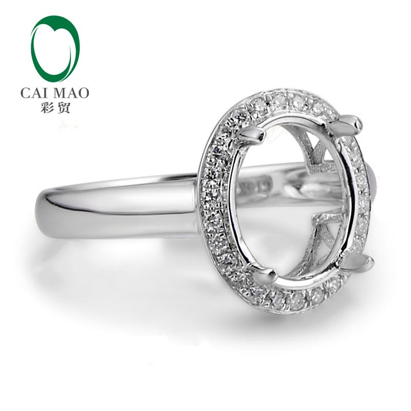 Oval 8x10mm 14ct White Gold Natural Pave Diamond Semi Mount Ring Free Shipping