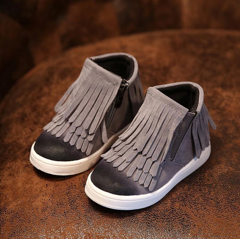 Primavera otoño invierno Niño/niña/niño motocicleta botas nubuck cuero Martin botas Fringe Flats zapatos zip color sólido botas cortas