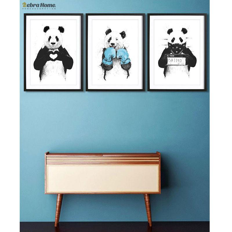 Main Dessiner Panda Croquis Toile Art Print Affiche Minimaliste Hippie Bricolage Peinture Belle Cadeau Pour Nursey Enfants Chambre Décoration