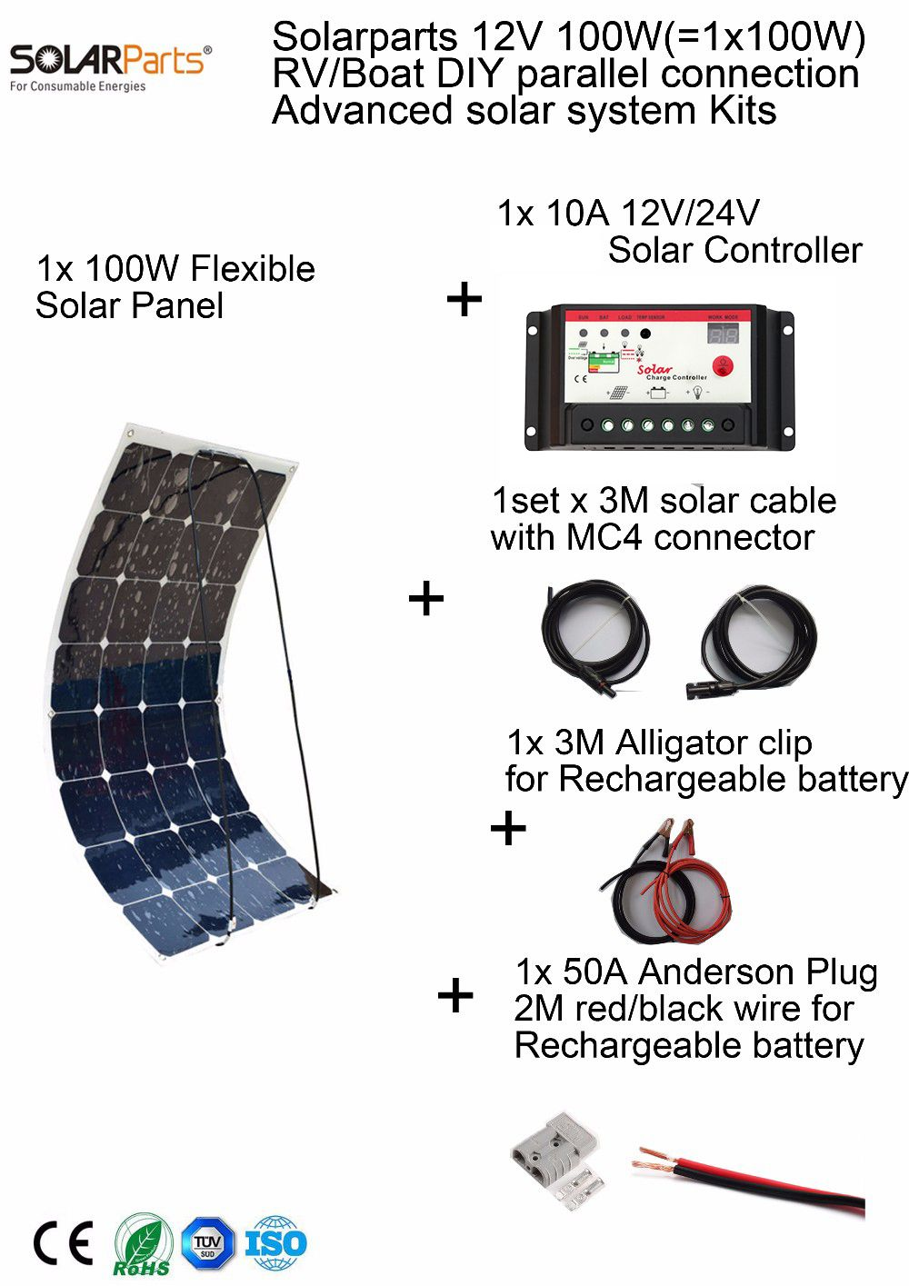 Solarparts 100W DIY RV/Marine Kits Solar System 1x100W flexible solar panel 12V,1x 10A 12V solar controller set cables cheap .