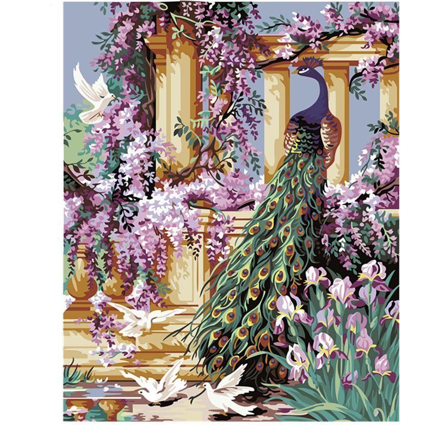 Bricolage paon peinture à l'huile par numéros quadri da parete peint à la main peinture murale sur toile acrylique coloriage par numéros cuadros