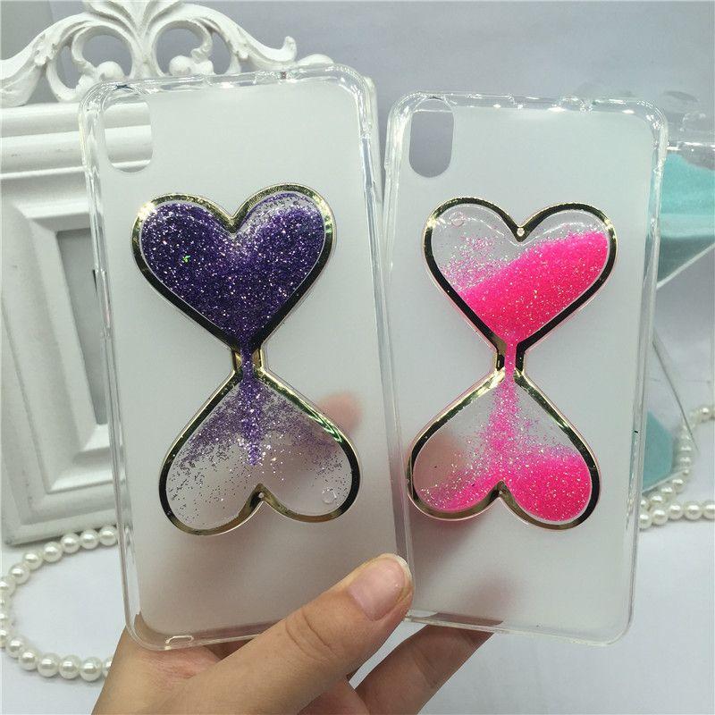 Luxury Liquid Glitter Case for Lenovo S850 S850t Cases 3D Heart Shape Girly Perfume Bottle Quicksand Dynamic Cover