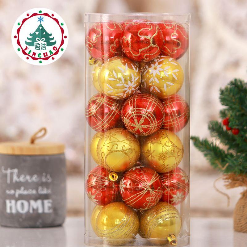24 stück Rot Goldenen Thema Pack Ornamente für Baum 6 cm Dekor Weihnachtsbaum Ball Flitter Hanging Xmas Ornament Wohnkultur
