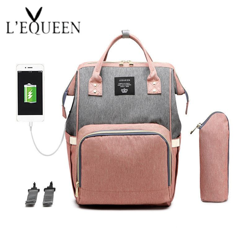 USB Diaper Bags New Upgrade Fashion Travel Backpack Large Diaper Backpack Waterproof Maternity Bag Mummy Bags with 2 hooks