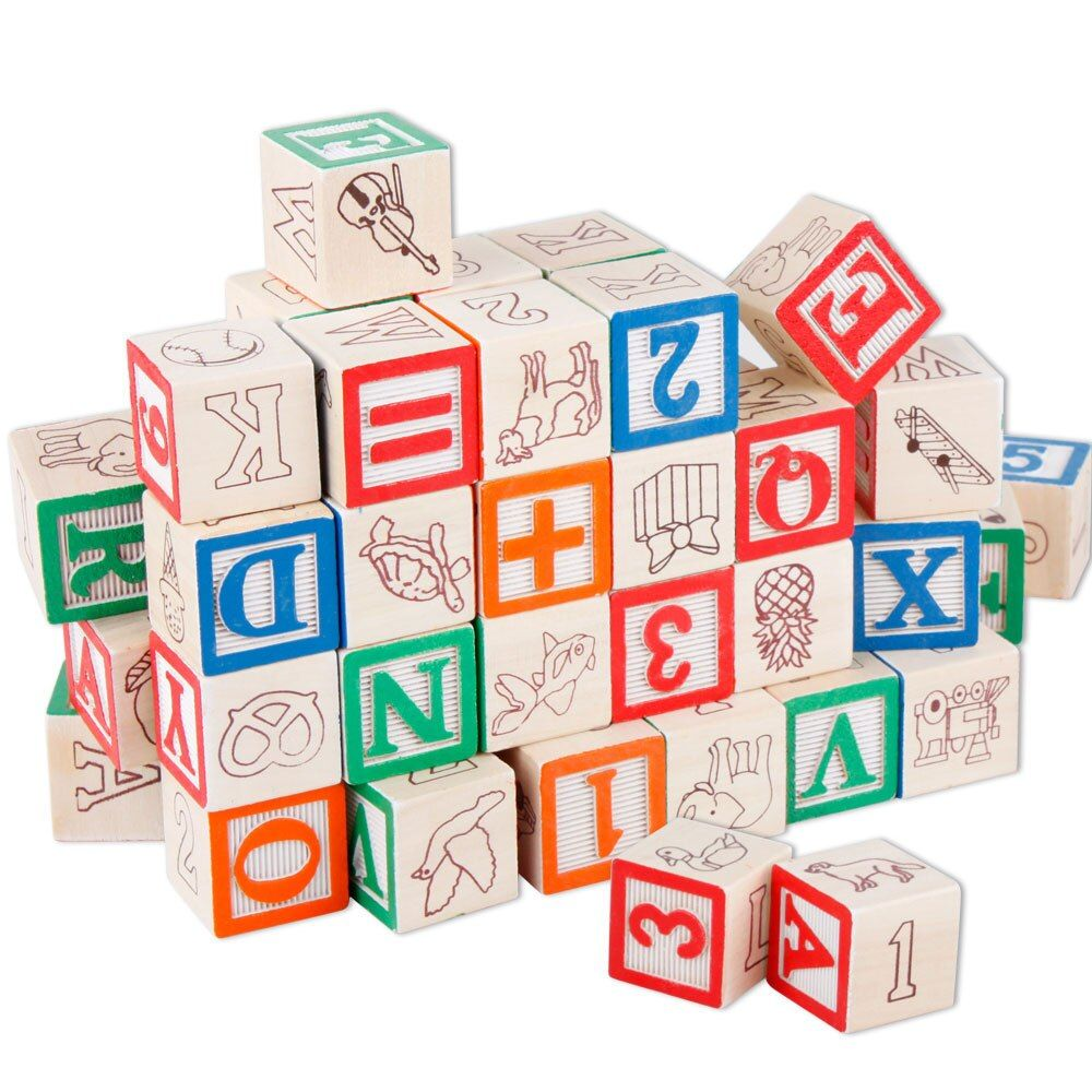 Baby Toys ABC/123 Wooden Cube Figure Blocks Educational Early Learning Toys 50pcs Alphabet Building Blocks Pouch Christmas Gift