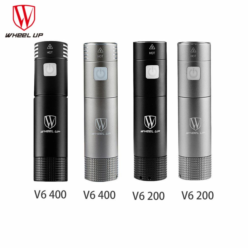 WHEEL UP V6 200/400 Lumens Mini USB Rechargeable Bike Light Front Handlebar Cycling Light Flashlight Torch Bicycle Accessories