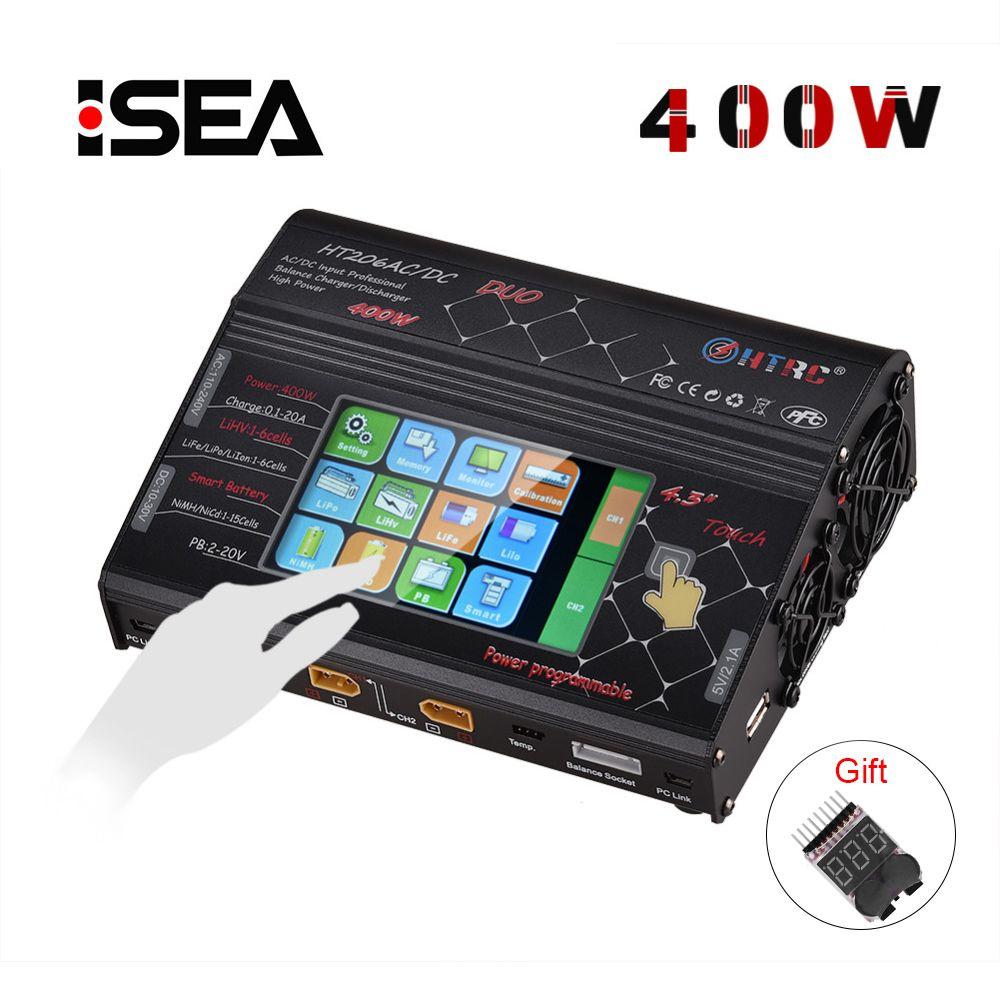HTRC HT206 AC/DC DUO 400 W 40A double Port RC chargeur Balance Lipo chargeur LCD écran tactile Lilon/LiPo/vie/LiHV chargeur de batterie