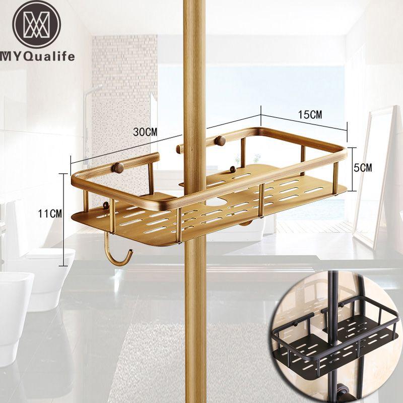 Brass Antique Bathroom Shower Faucet Shelves with Hooks Bathroom Commodity Basket Dedicated for Shower Pole