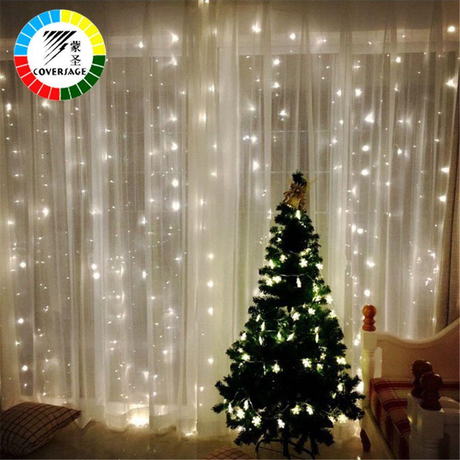 Coversage 3X3 m Guirlandes De Noël LED Chaîne De Noël Net Fée de Noël Garden Party De Mariage Décoration Rideau Lumières